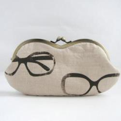 sunglass / eyeglasses case -glasses on beige linen - snap case- frame purse